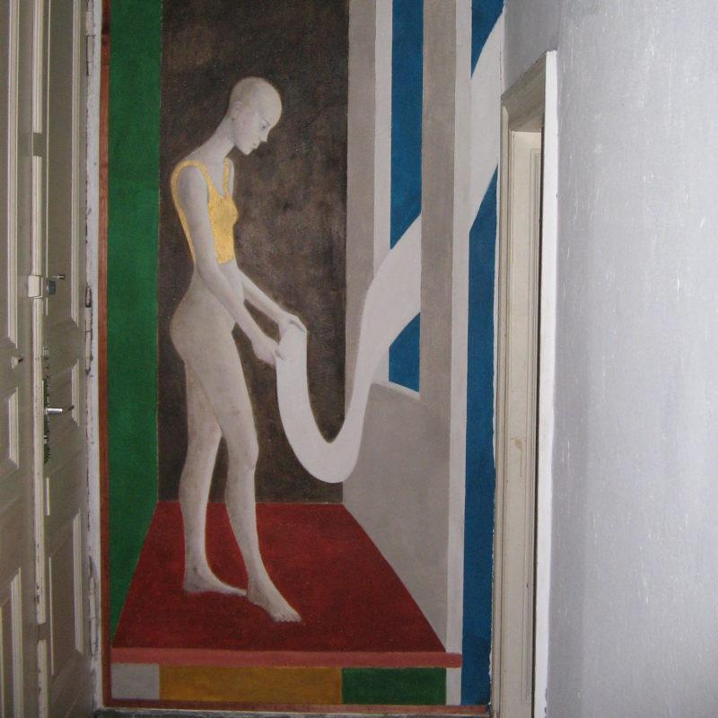 Das Fenster, Fresco in Berliner Altbauwohnung Prenzlauer Berg, 2003