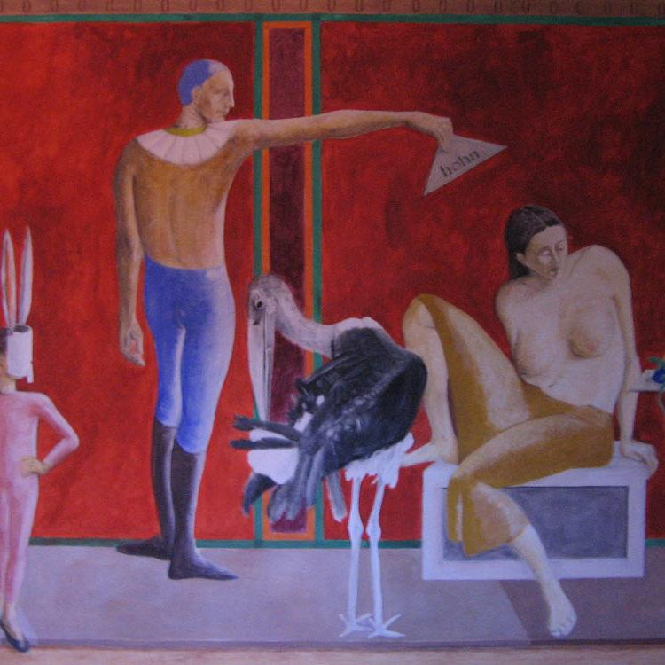 Allegorie mit Eidechse, Eitempera auf Leinwand, 2001, Detail
