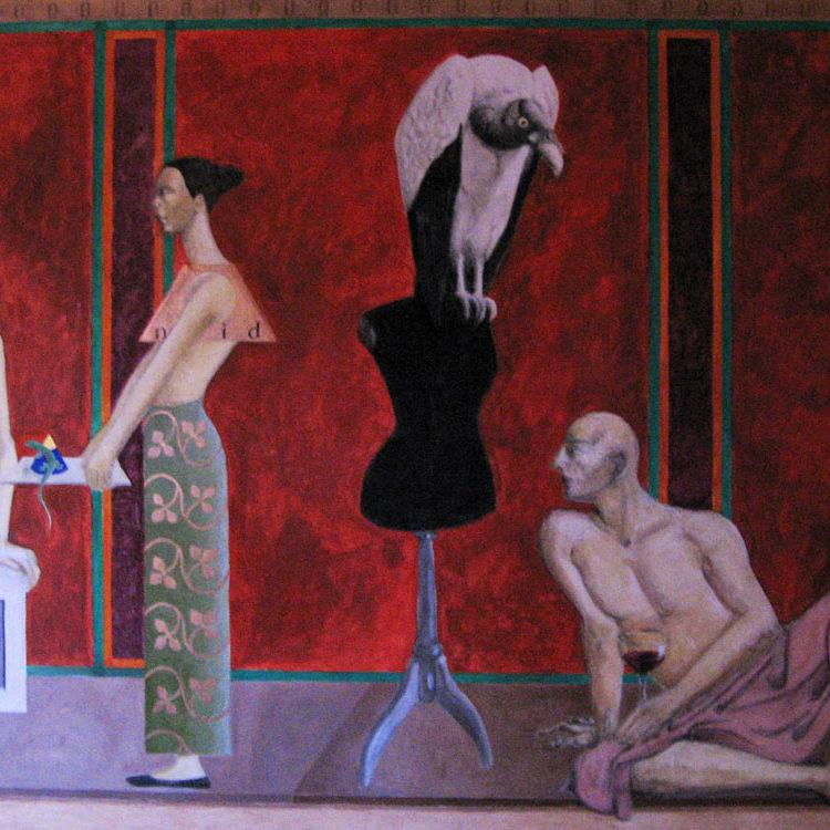 Allegorie mit Eidechse, Eitempera auf Leinwand, 2001