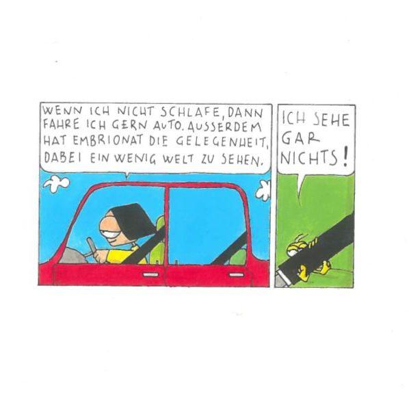 Embrionat fährt Auto, Comic, Guache auf Papier, 1999