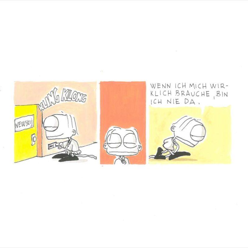 Nevskij sucht sich selbst, Comic, Guache auf Papier, 1999